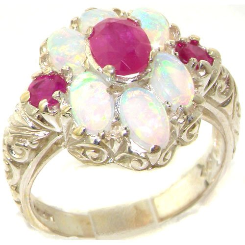 Spectacular Solid Sterling Silver Natural Ruby and Very Fiery Opal Art Nouveau Style Ring - Size 11.75 - Finger Sizes 4 to 12 Available - Suitable as an Anniversary ring, Engagement ring, Eternity Ring, or Promise ring