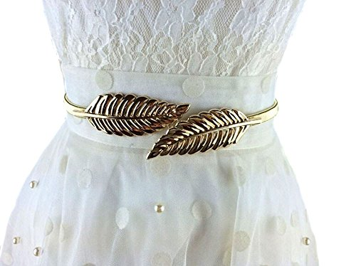 Lalang Golden Women Waist Chain Leaf Shape Metal Stretch Elastic Ladies Metal Chain Belts