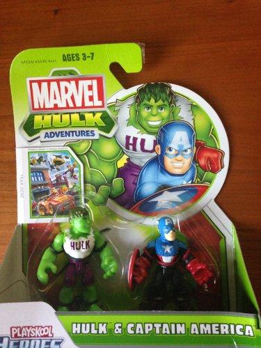 Marvel Playskool Super Hero Adventures Mini Figure 2-Pack Hulk & Captain America - 1