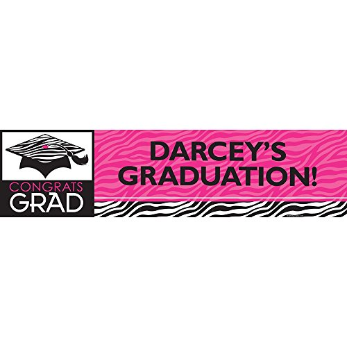 Pink Zebra Grad Personalized Banner (Each)