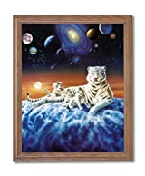 Galaxy Celestial Tiger Cub Cat Animal Wildlife Fantasy Home Decor Wall Picture Oak Framed Art Print