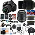 Nikon D5300 Digital SLR Camera Body Black with Nikon 18-55mm VR Standard Zoom Lens Exclusive Celltime Bundle with Sigma 70-300mm DG Macro Zoom Lens + Wide Angle and Telephoto Lenses + Professional Size Tripod + 3pc Flash Diffuser Set + 2pcs 16GB High Speed Memory Cards + 25pc Accessory Kit