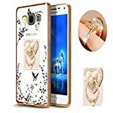 Samsung J7 Floral Crystal TPU Case-Auroralove Soft Slim Bling Plating Rubber Bumper Cover for Samsung Galaxy J7 with Rhinestone Diamond Element Detachable 360 Ring Stand for Girls Women(Gold+White)