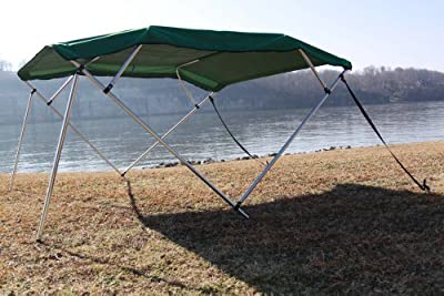"""New GREEN Vortex Pontoon / Deck Boat 4 Bow Bimini Top 10' Long, 8'WIDE, FITS 91-96"""" Wide, 54"""" High, Complete Kit, Frame, Canopy, and Hardware (FAST SHIPPING - 1 TO 4 BUSINESS DAY DELIVERY)"""