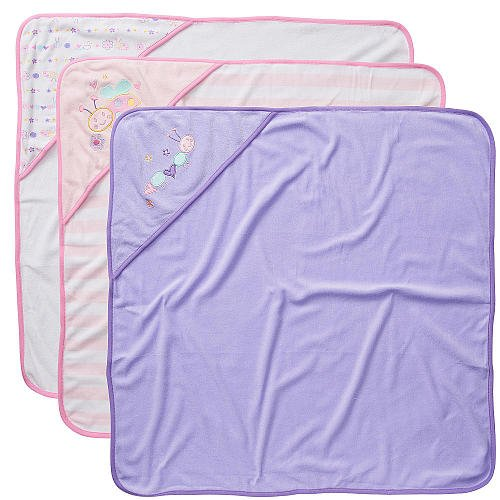 Koala Baby Girls' Hooded Towels 3 Pack - Pink/Purple Bug