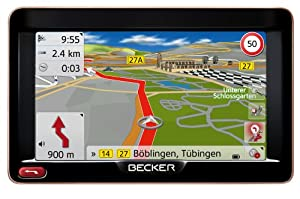 "BECKER Ready 50 LMU Sat Nav, 12.7 cm (5"") Display, Europe Maps (44 Countries), Lifetime Map Updates, SituationScan, 3D Terrain View, Black/Mocca-Metallic"