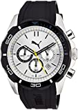 PUMA Challenger-Large unisex quartz Watch with white Dial chronograph Display and black PU Strap PU103191002