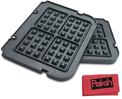 Non Stick Waffle Maker Removable Plates for Griddles - Bundled with Cloth