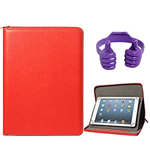 DMG Zippered Portfolio Cover Stand Case with Accessory Pockets for Hcl Me Champ Tablet (Red) + Tablet Holder Hand Stand