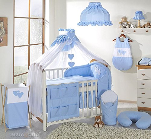 10-Piece-Baby-Bedding-Set-to-fit-Cot-Bed-140-x-70-cm-Hearts-Blue