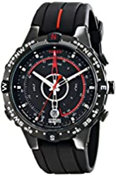 Timex Men's T2N720 Intelligent Quartz Black Stainless Steel Watch with Silicone Band