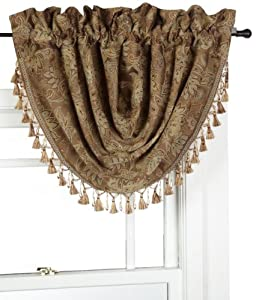 Crocill Home Botticelli Waterfall Swag Valance, Taupe: Home & Kitchen