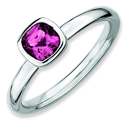 Sterling Silver Stackable Expressions Cushion Cut Pink Tourm. Ring - Ring Size Options Range: J to T