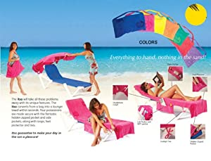 """""""ITSA"""" ULTRA-THICK 82"""" TERRY VELOUR LOUNGE CHAIR BEACH TOWEL WITH 6 SIDE POCKETS, ZIPPERED LOWER POCKET THAT CONVERTS INTO A BEACH BAG!-ORANGE"""