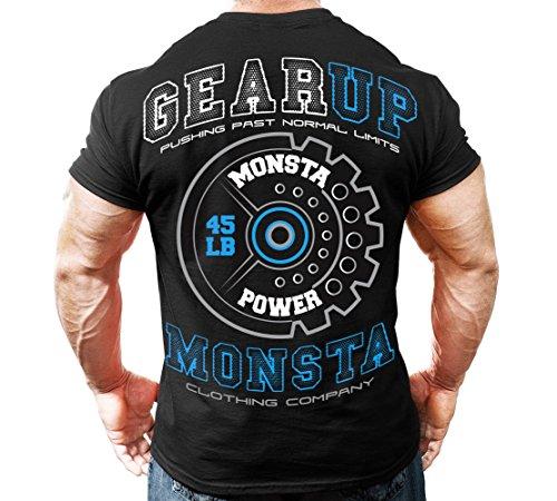 Monsta Clothing Co. Men's GearUp-Monsta (M-TEE218) T-shirt XL Black