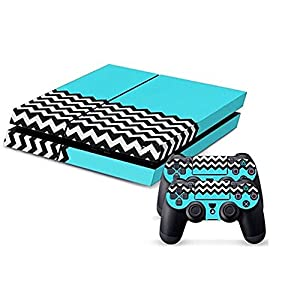 Generic Protective Vinyl Light Blue Style Hot Skin Decals Cover for Sony PlayStation 4 PS4 Console and 2 PS4 Controller Sticker Skins