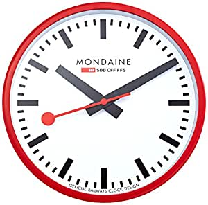 Mondaine a990 wall clock white dial red frame mondaine watches - Mondaine wall clocks ...