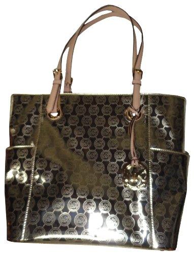 Michael Kors Handbag Signature Patent East West Pale Gold