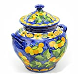 Kitchen Canister in Mediterranean Blue and Yellow, Medium