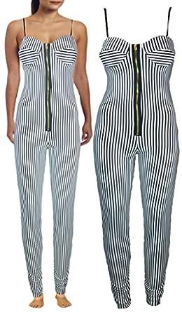 Up Town Womens Ladies Black White Stripe Front Zip Boobtube Jumpsuit Bra Dress Playsuit : Size - 12