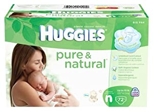 Huggies Pure & Natural Diapers, Newborn, 72 Count