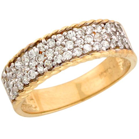 9ct Two Colour Yellow And White Gold Round CZ Men's Wedding Band Ring