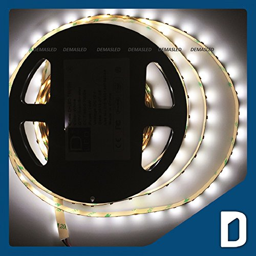 24W 16.4 Ft Led Smd 3528 Flexible Strip - 300 Leds - 12V 2A - Cool White / Day Ligth - Lighting Smd3528 - String Strand Cord Spool Simple Chip Decoration