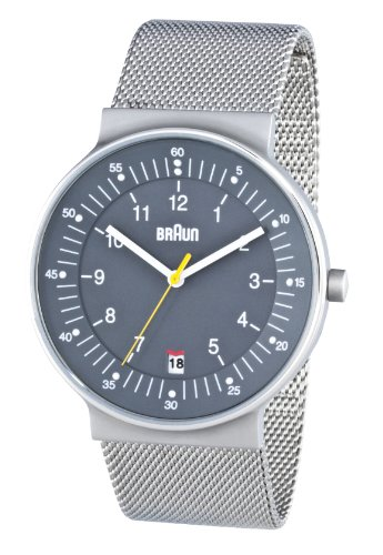 Braun Men's Quartz 3 Hand Movement Watch BN0082GYSLMHG With Mesh Bracelet