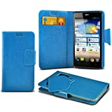 ONX3 (Baby Blue) Acer Liquid Z4 Super Thin Faux Leather Wallet Flip Suction Pad Skin Case Cover With Credit / Debit Cards Slot