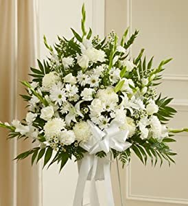 1800Flowers - Heartfelt Sympathies White Standing Basket - Large
