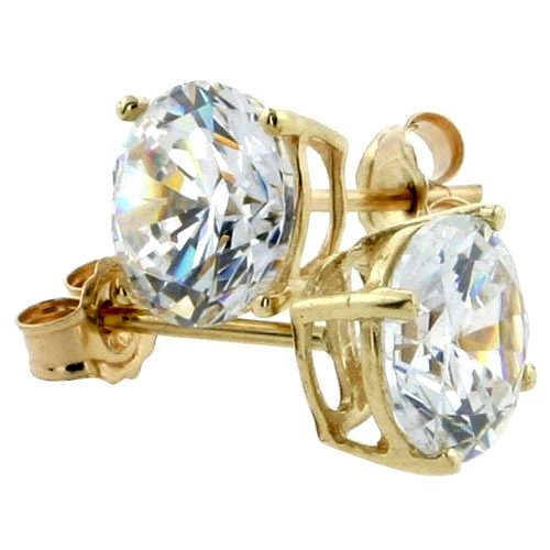 14K Gold 7 mm CZ Stud Earrings Brilliant Cut Basket Set 2 1/2 Carat Size