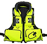 Kayak Life Jackets Green Hoody Buoyancy Aid Sailing Kayak Boating Fishing Vests (L)