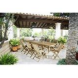 SAM® Teak-Holz Gartengruppe, Gartenmöbel Caracas 9 tlg., bestehend aus 8 x Klappstuhl Menorca + 1 x Auszugstisch...