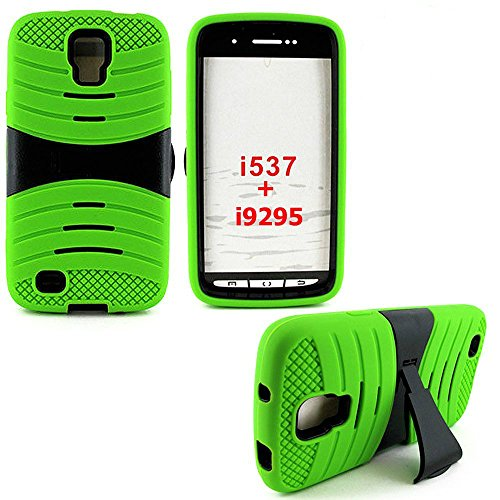 "Mylife Lime Green + Black Shock Proof Survivor (Built In Kickstand) Ridge Case For Samsung Galaxy S4 Active Smart Phone ""Fits Models: Sgh-I537 And Gt-I9295"" (External Flexible Easy-Grip Soft Silicone Bumper Gel Cover + Internal 2 Piece Rubberized Snap On"