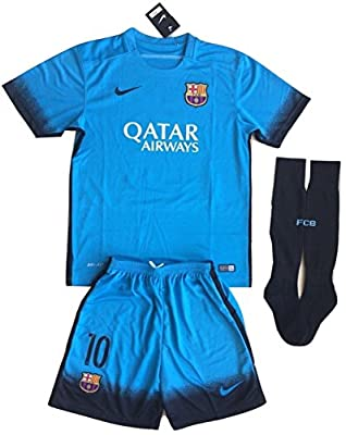 2015-2016 Messi #10 Kids/Youth FC Barcelona Champions League Third Jersey (Jersey + Shorts + Socks)