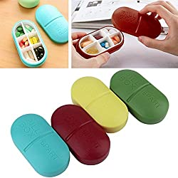 HOME CUBE Portable 6-Slot Capsule Shape Pill Box Storage Medicine Pill Box, Organizer, Plastic Storage , Case Container, Memory Card Organizer, Stationary Organizer. Random Color - 1 Pc