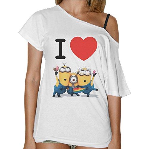 T-Shirt Donna Collo Barca I Love Minions Cattibissimo Be - Bianco