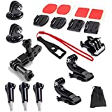 15in1 Grab Bag Of Mounts Kit For Gopro HD Hero 4 3+ 3 2 1 /Hero 3 Plus Cameras Quick Release Buckle+2 PCS Surface J-Hook Buckle Mount+Curved/Flat Surface Mounts+Three-way Adjustable Pivot Arm