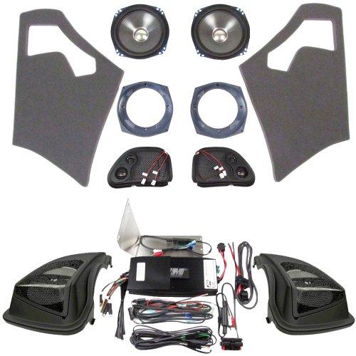 Hill Country Customs J&M Front Rokker Speakers, 500 Watt 4 Channel Amp, And A Hogtunes Saddlebag Lids Kit For 2006-2013 Harley-Davidson Road Glide - Hc-500Ht-Rg