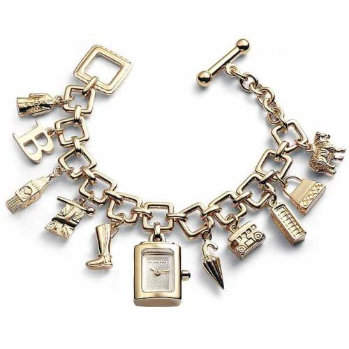 Amazon.com: Authentic Burberry Charm Bracelet Gold Toggle Watch BU5204