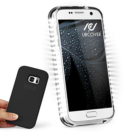 URCOVER® Selfie Case Cover Luce Led Custodia Luminosa Samsung Galaxy S7 | Guscio Rigido Antishock in Nero | Bumper Protettiva Illuminazione Torcia Led Regolabile Robusta Resistente