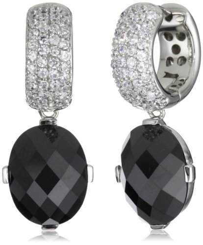 Giorgio Martello Sterling Silver Rhodium Plated Earrings with Cubic Zirconium