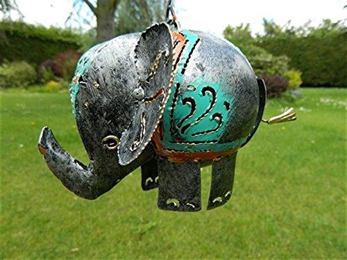 Elephant Tea light Hanging Candle Holder Metal Elephant Garden Lantern - Silver Elephant Tealight