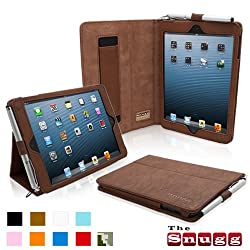 Snugg iPad Mini Leather Case Cover and Flip Stand with Elastic Hand Strap and Premium Nubuck Fibre Interior ('Distressed' Brown) - Automatically Wakes and Puts the iPad Mini to Sleep