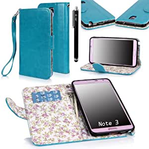 E LV Deluxe PU Leather Wallet Case Cover for Samsung Galaxy Note 3 with 1 Stylus and 1 Clear Screen Protector(Turquoise) (NOT COMPATIBLE FOR Note 3 Neo Lite)