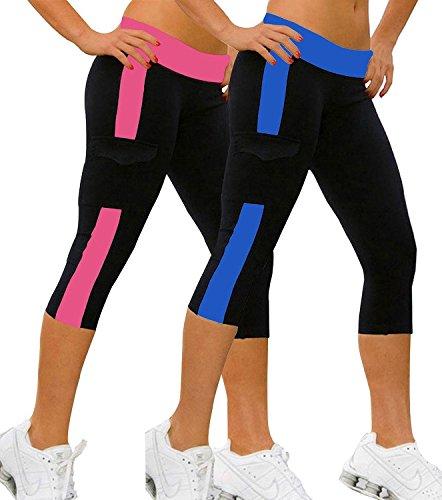 iLoveSIA-2PACK-Womens-Running-Capri-Tights-YOGA-Pants-Leggings