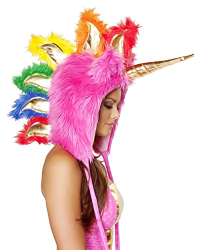 iHeartRaves Unicorn Rave Spirit Fluffy Furry Hood (Pink)