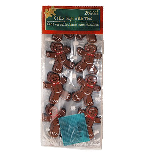 25pcs Clear Gingerbread Man Cello/Cellophane/Loot Treat Bag 11.5 x 5 x 3 inch Gift Basket Supplies