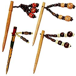 Wooden Handmade Beautiful Beads Collection Hair Pin/Stick (Pack of 4)