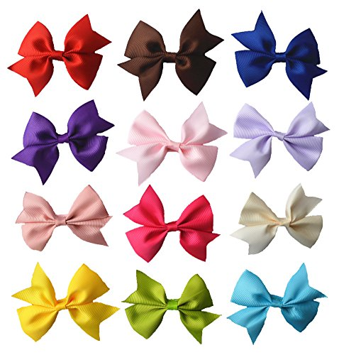 "Qandsweet Baby Girl's Ribbon Grosgrain Clips Hairpins Barrettes (12pack) (12pcs 3"" Hair Clips) - 1"